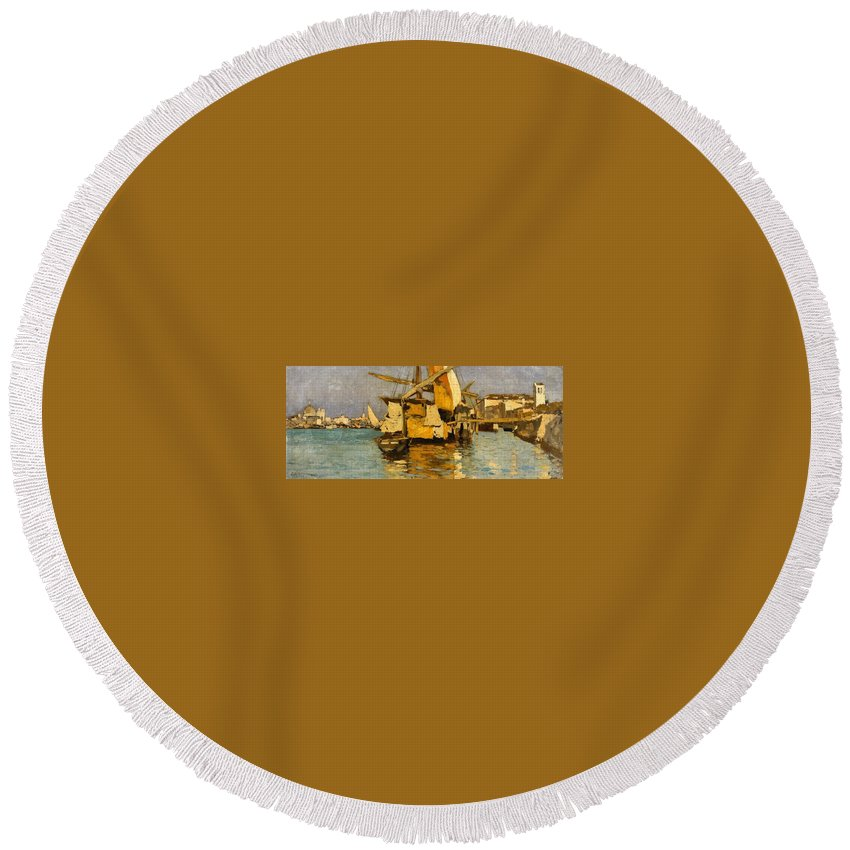 Guglielmo Ciardi Round Beach Towel featuring the painting Sailing Boat On The Canale Della Giudecca by MotionAge Designs