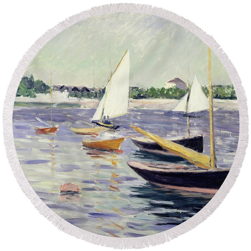Sailing Round Beach Towel featuring the painting Sailing Boats At Argenteuil by Gustave Caillebotte