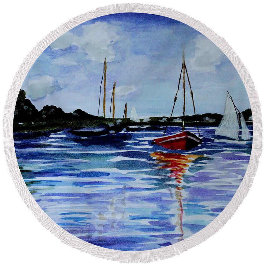 Sailing Round Beach Towel featuring the painting Sailing Day by Elizabeth Robinette Tyndall