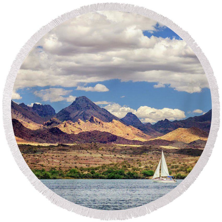 Sailing Round Beach Towel featuring the photograph Sailing In Havasu by James Eddy