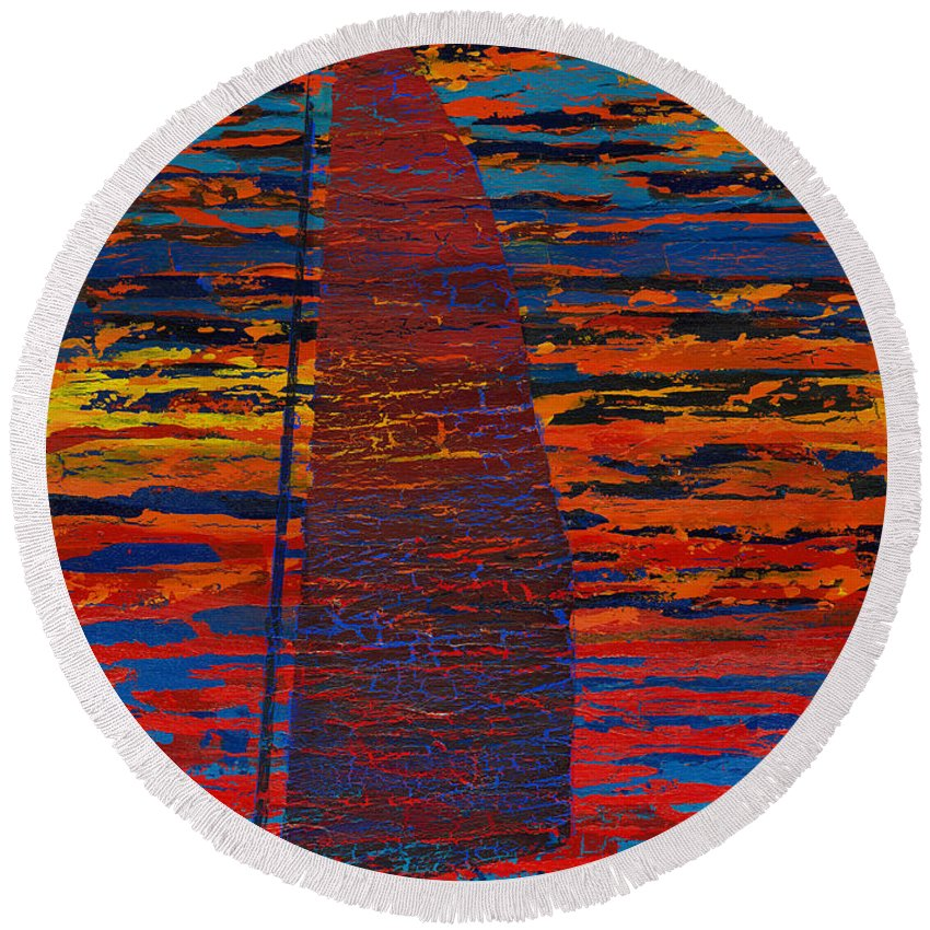Abstract Round Beach Towel featuring the painting Sailing Into The Sunset by Sean Corcoran