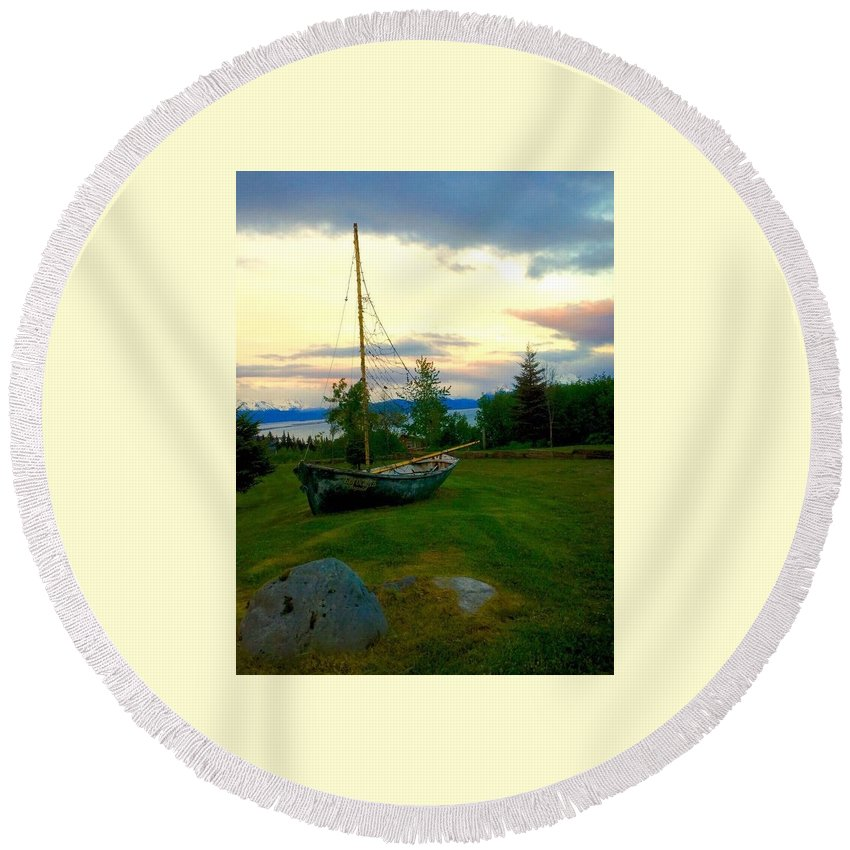 Landscape Round Beach Towel featuring the photograph Sailing by Jacque Lenew
