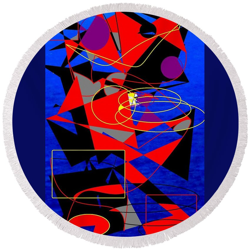 Abstract Round Beach Towel featuring the digital art Sailing On An Open Sea by Ian MacDonald