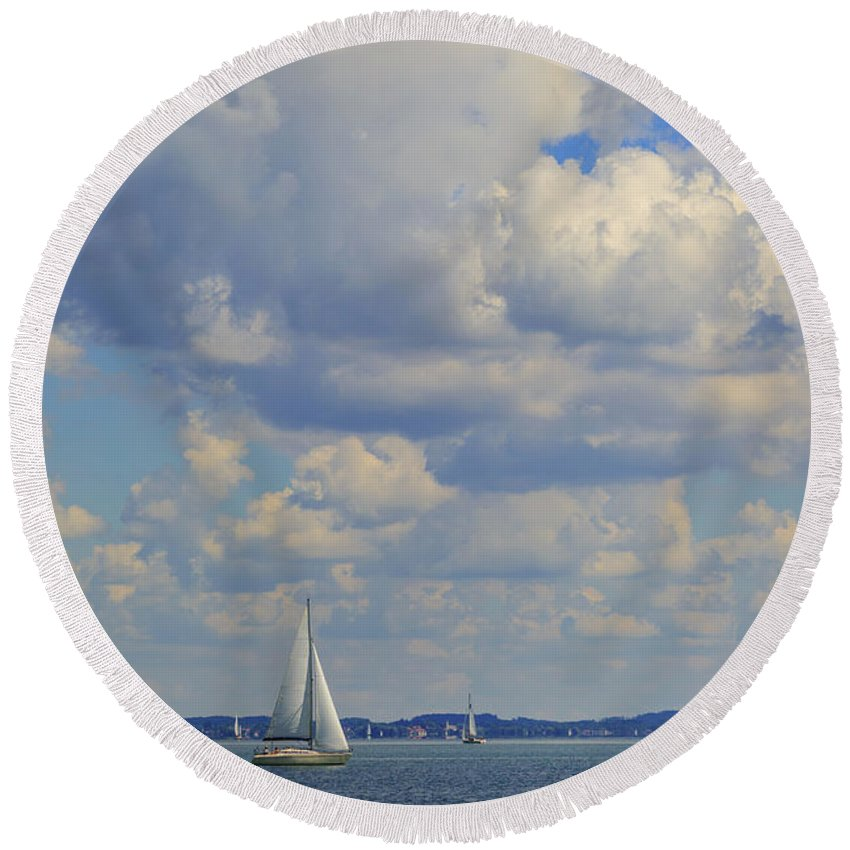 Chiemsee Round Beach Towel featuring the photograph Sailing On Chiemsee Lake by Rusalka Koroleva