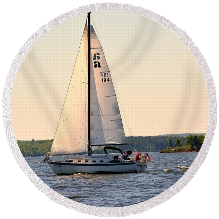 Sailboat Round Beach Towel featuring the photograph Sailing On Lake Murray Sc by Lisa Wooten