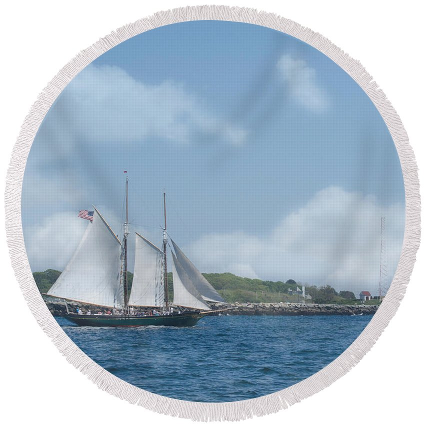 Ship Round Beach Towel featuring the photograph Sailing Ship by ChelleAnne Paradis