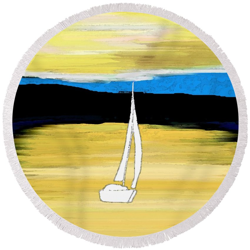 Sailing Sunset Round Beach Towel featuring the painting Sailing Sunset by Priscilla Wolfe