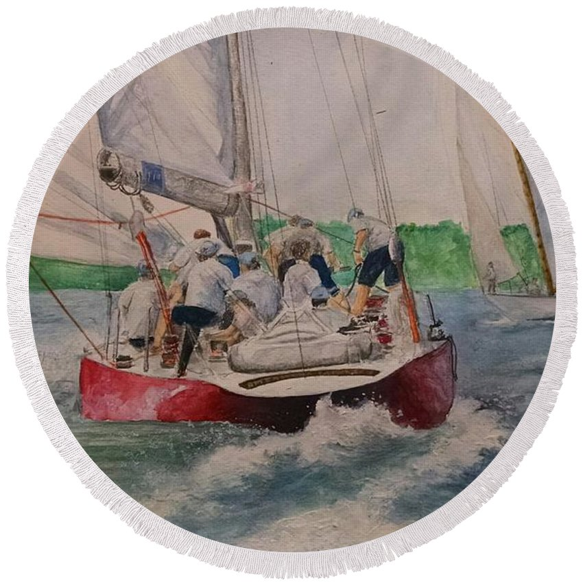Sailing Round Beach Towel featuring the painting Sailing Teamwork by Denise Beaulieu