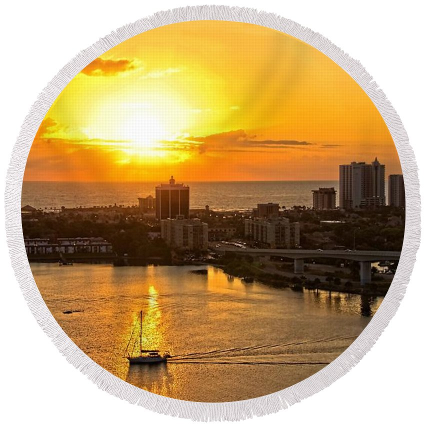 Alicegipsonphotographs Round Beach Towel featuring the photograph Sailing Through The Sunrise by Alice Gipson
