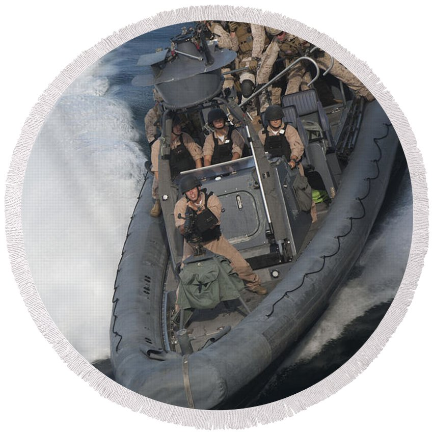 Uss New Orleans Round Beach Towel featuring the photograph Sailors Operate A Rigid-hull Inflatable by Stocktrek Images