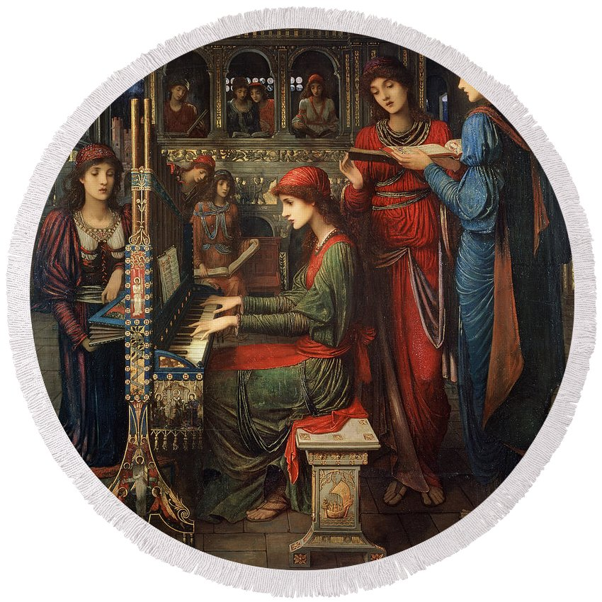 Organ; Singing; Choir; Saint; Cecile Round Beach Towel featuring the painting Saint Cecilia by John Melhuish Strudwick