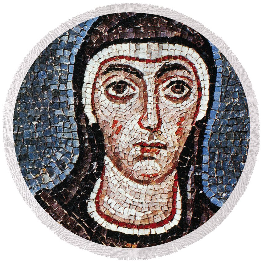 3rd Century Round Beach Towel featuring the painting Saint Felicity (d. 203) by Granger