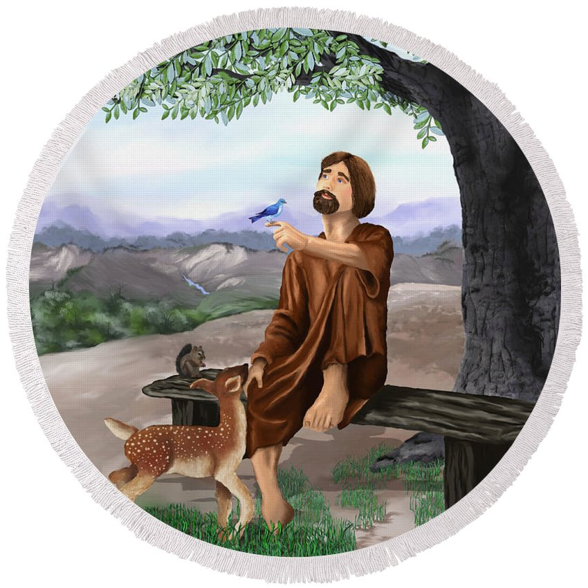 Saint Francis Round Beach Towel featuring the painting Saint Francis by Susan Kinney