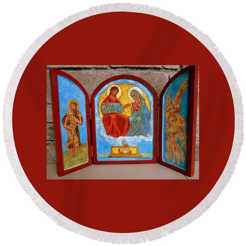 Francis Round Beach Towel featuring the painting Saint Francis Tryptich Opened by Sarah Hornsby