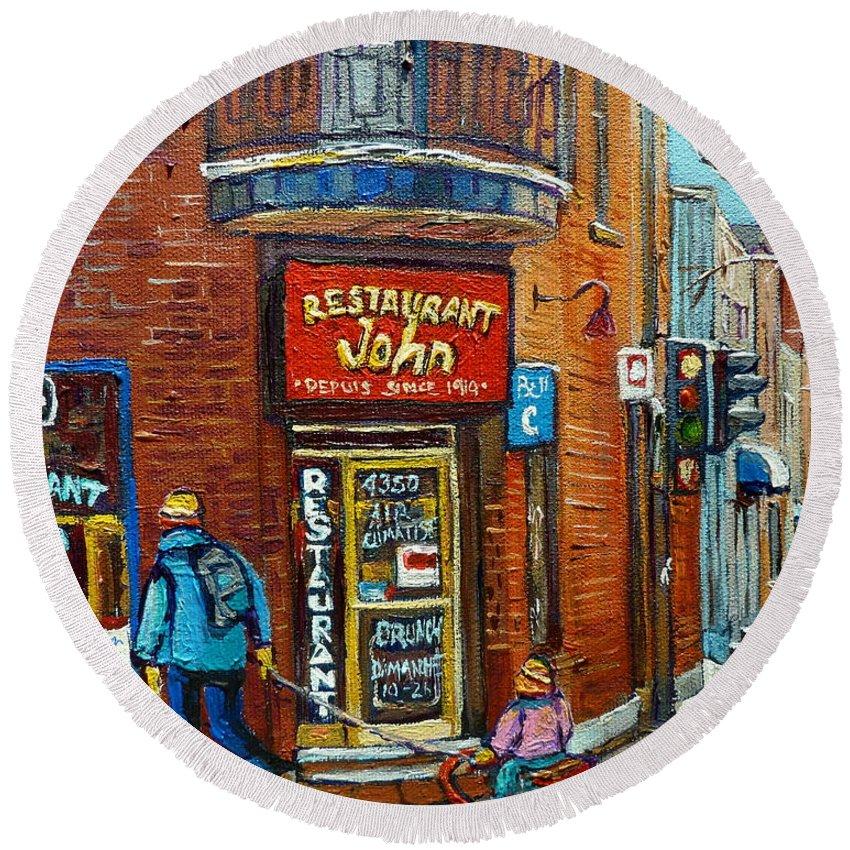 Restaurant John Montreal Round Beach Towel featuring the painting Saint Henri Street In Winter by Carole Spandau