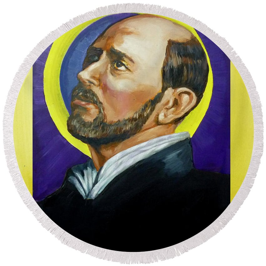 Saint Round Beach Towel featuring the painting Saint Ignatius Loyola by Bryan Bustard
