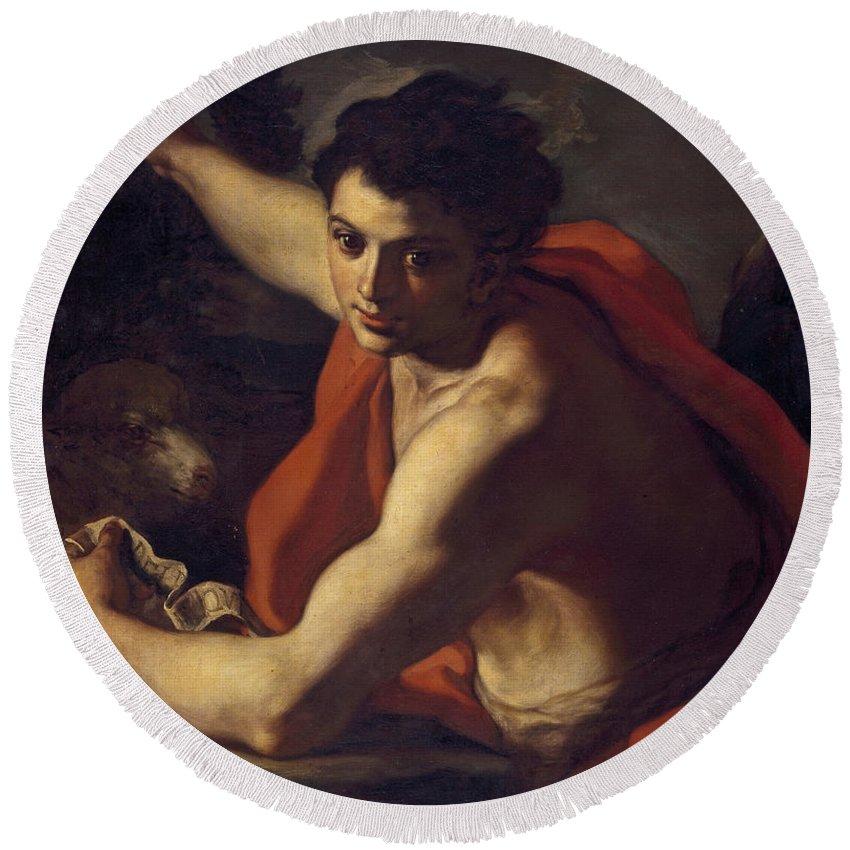 Francesco Solimena Round Beach Towel featuring the painting Saint John The Baptist by Francesco Solimena