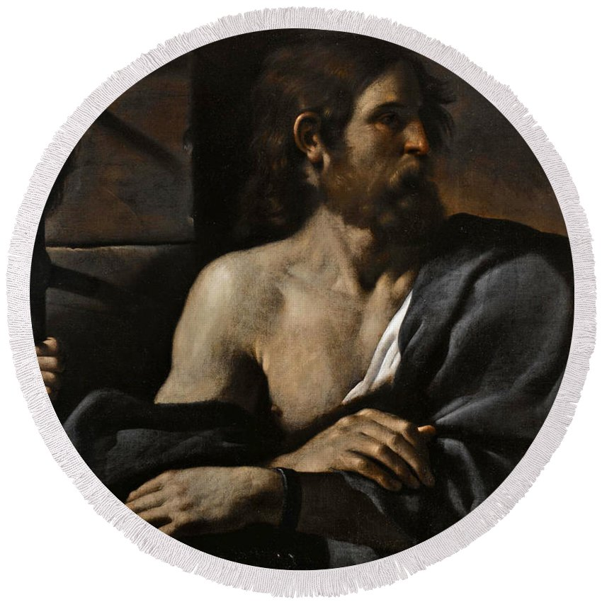 Guercino Round Beach Towel featuring the painting Saint John The Baptist In Prison Visited By Salome by Guercino