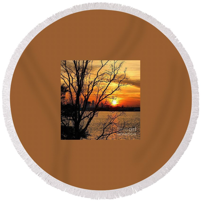 Saint Johns River Sunset Round Beach Towel featuring the photograph Saint Johns River Sunset by Geoffrey Shaffer