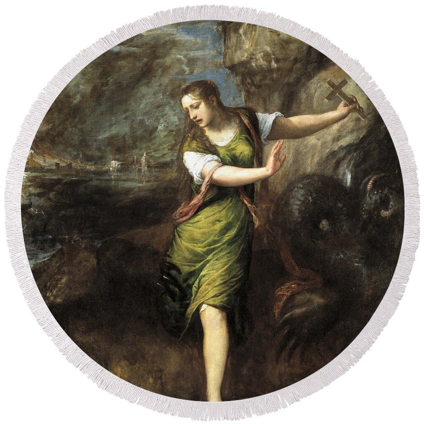 Titian Round Beach Towel featuring the painting Saint Margaret by Titian