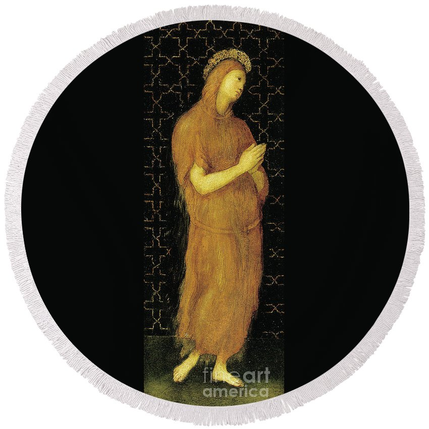 Raphael Round Beach Towel featuring the painting Saint Mary Of Egypt by Raphael