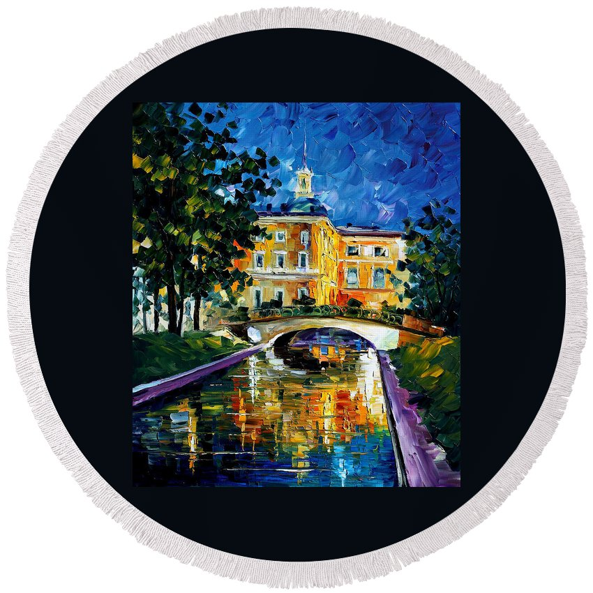 City Round Beach Towel featuring the painting saint petersburg Russia by Leonid Afremov