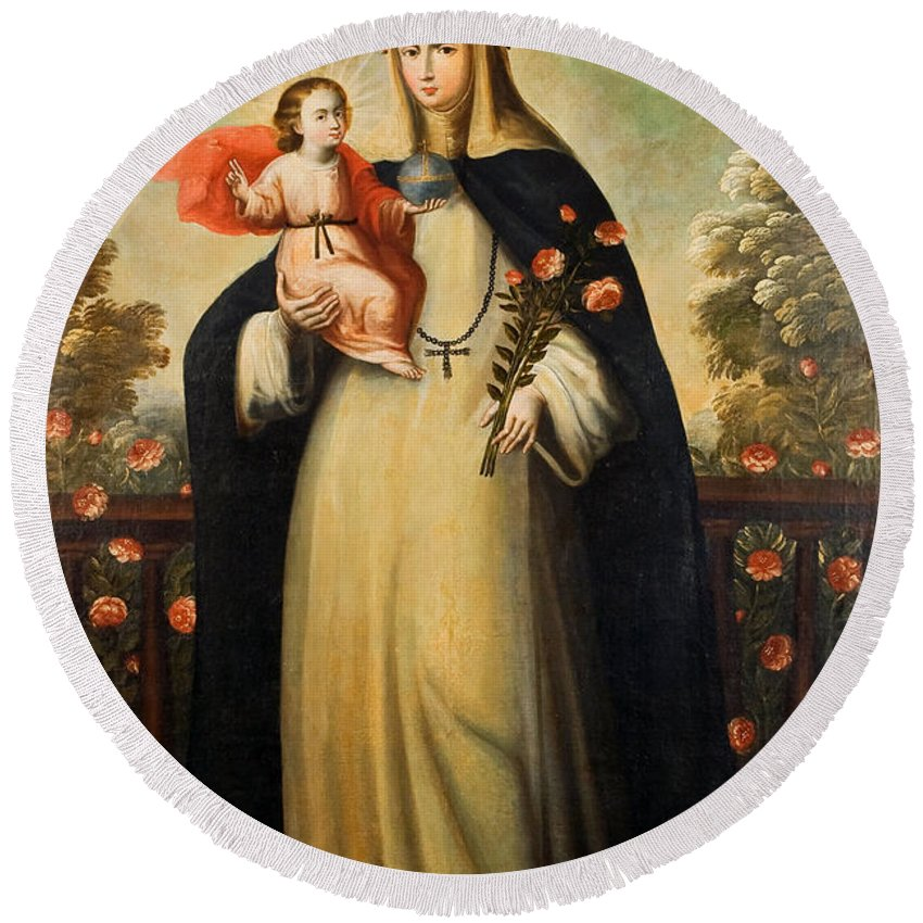 Painting Round Beach Towel featuring the painting Saint Rose Of Lima With Child Jesus by Mountain Dreams