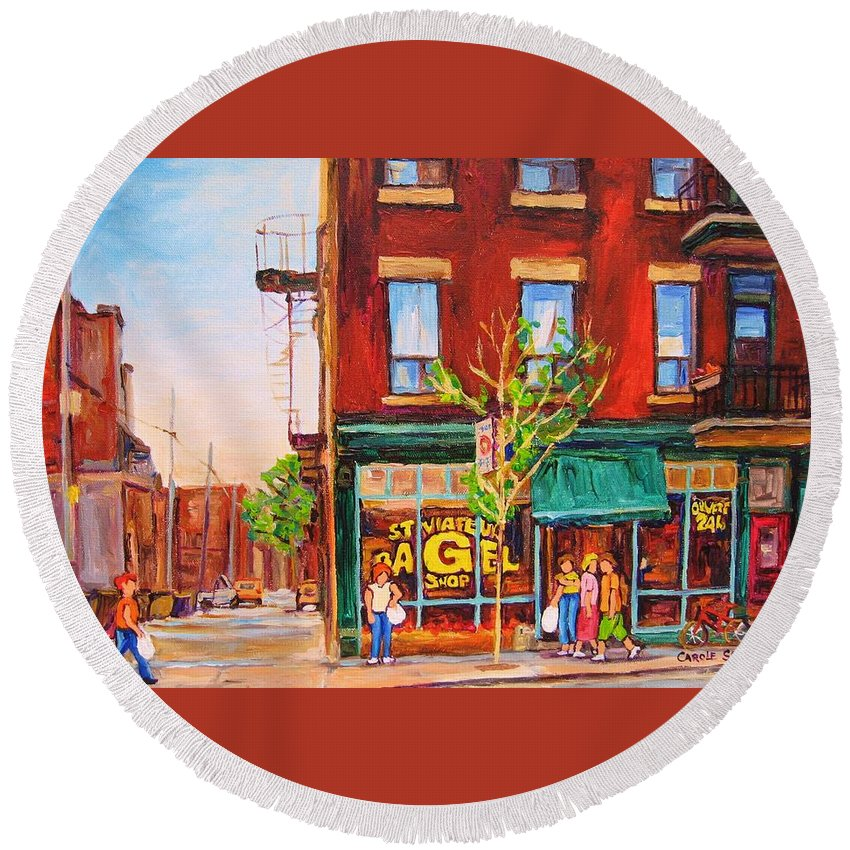 Montreal Round Beach Towel featuring the painting Saint Viateur Bagel by Carole Spandau