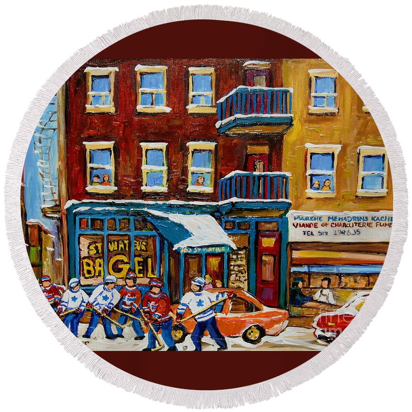 Montreal Round Beach Towel featuring the painting Saint Viateur Bagel With Hockey by Carole Spandau