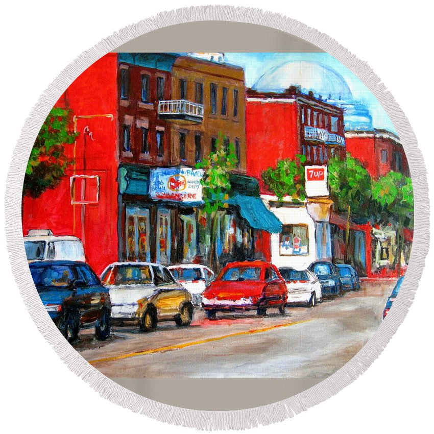 St.viateur Bagel Round Beach Towel featuring the painting Saint Viateur Street by Carole Spandau
