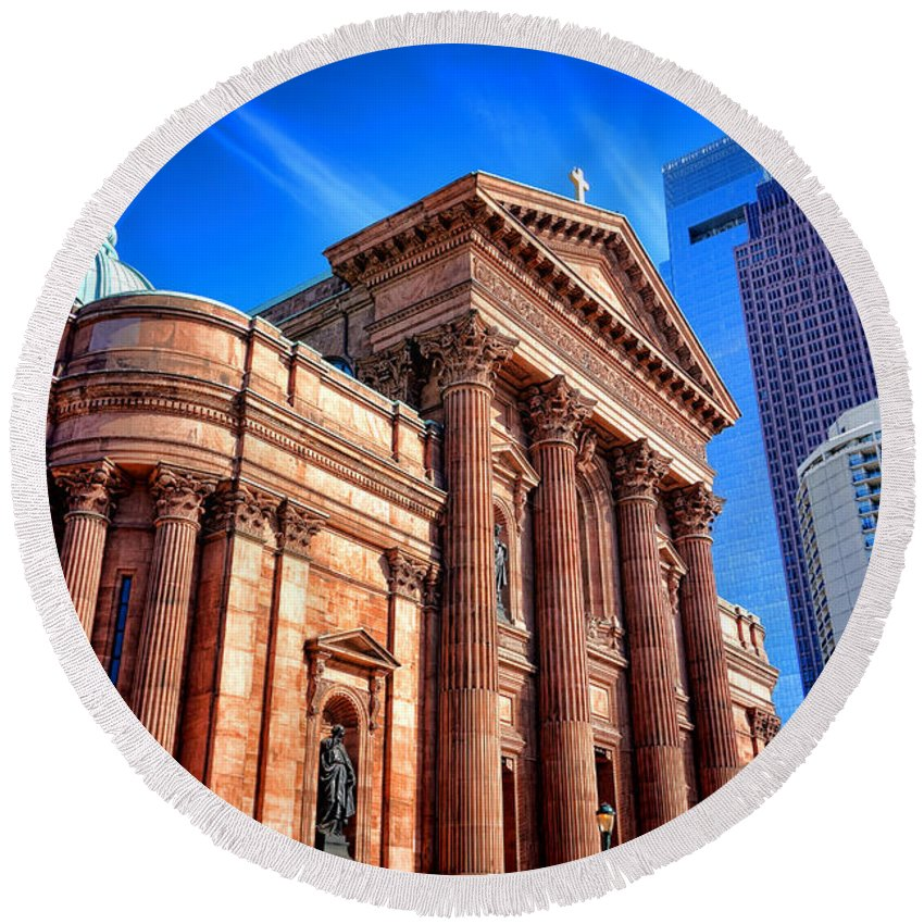 Cathedral Round Beach Towel featuring the photograph Saints Peter And Paul In Philadelphia  by Olivier Le Queinec