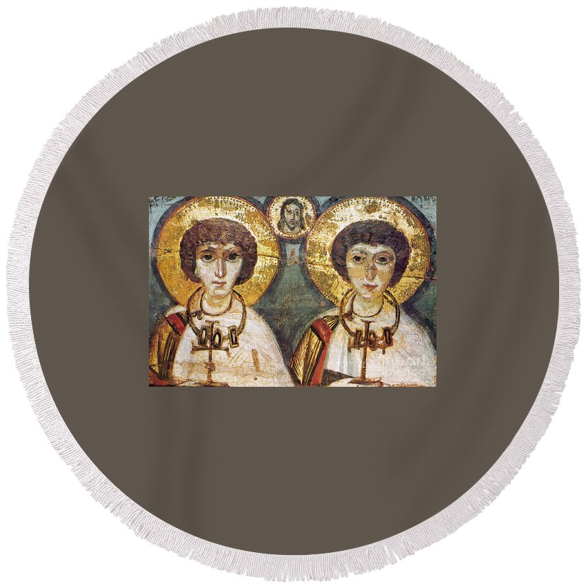 7th Century Round Beach Towel featuring the photograph Saints Sergius And Bacchus by Granger