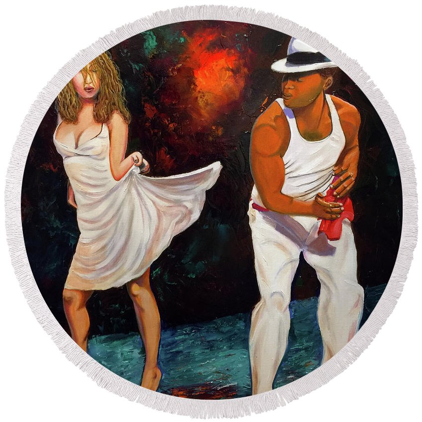 Dancing Cuba Painting Salsa Woman Round Beach Towel featuring the painting Salsa 2 by Jose Manuel Abraham