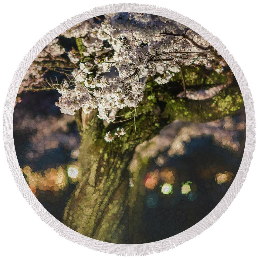 Spring Round Beach Towel featuring the photograph Sakura At Night by Eva Lechner