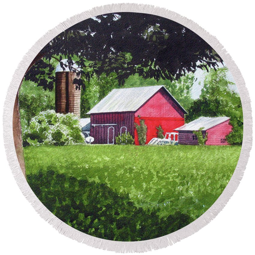 Farm Round Beach Towel featuring the painting Salem County Farm, Framed by Barry Levy