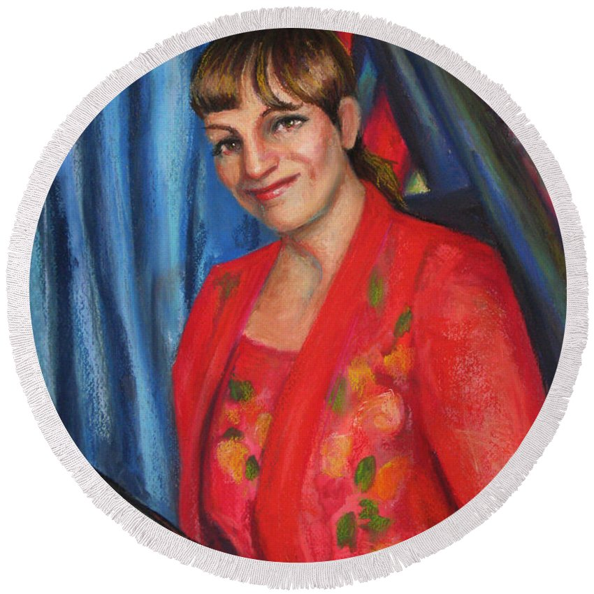Musician Round Beach Towel featuring the painting Sally Ann by Beverly Boulet