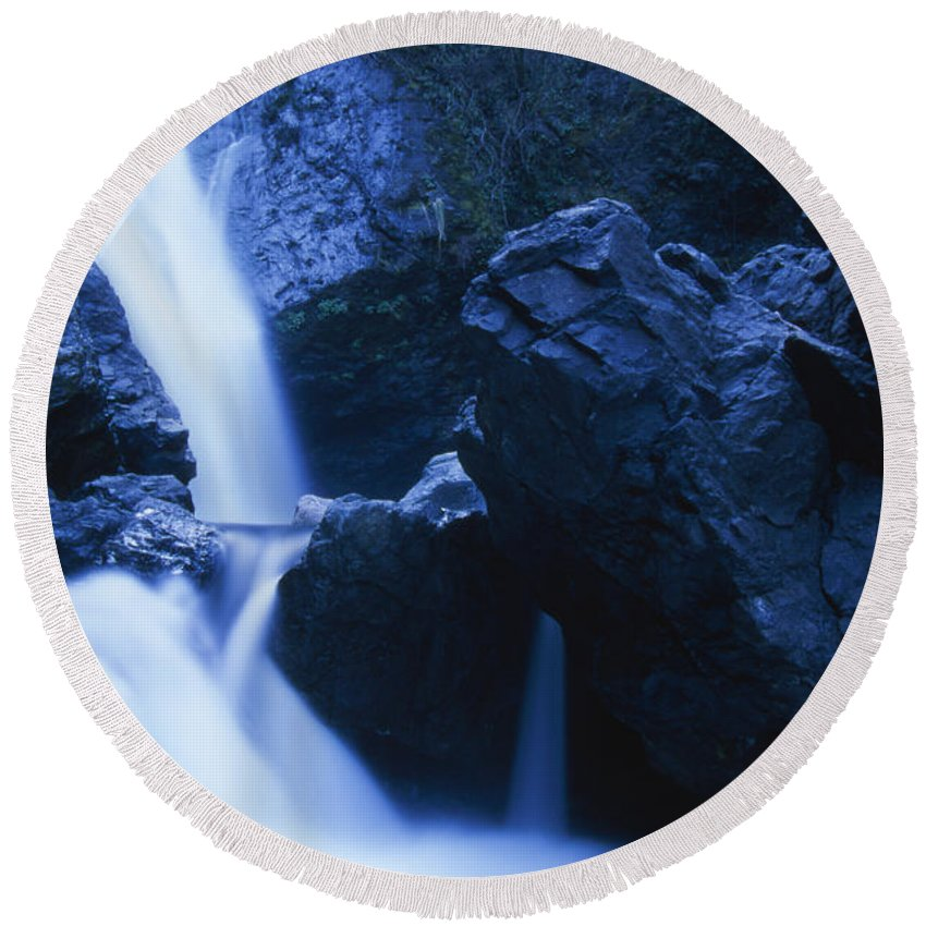 Salmon Creek Falls Round Beach Towel featuring the photograph Salmon Creek Falls by Soli Deo Gloria Wilderness And Wildlife Photography