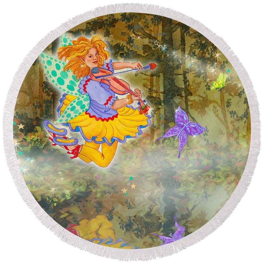 Merri Goldentree Round Beach Towel featuring the painting Salmonberry Fairy Merri Goldentree by Teresa Ascone