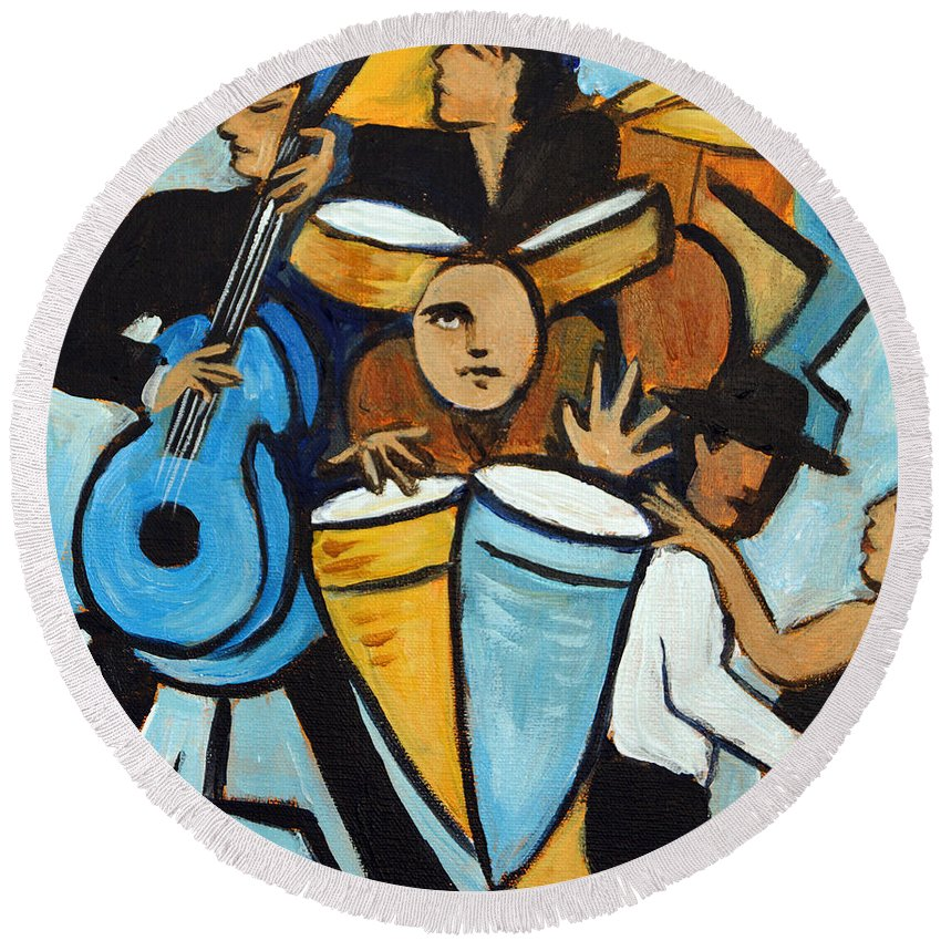 Cubist Salsa Dancers Round Beach Towel featuring the painting Salsa Night by Valerie Vescovi