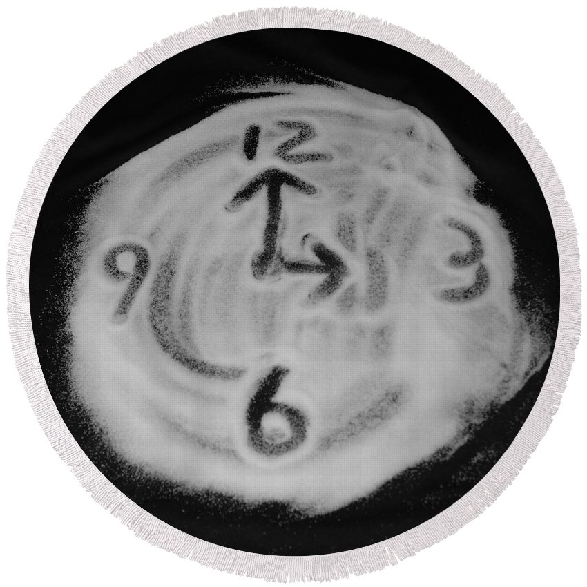 Black And White Round Beach Towel featuring the photograph Salt Clock by Rob Hans