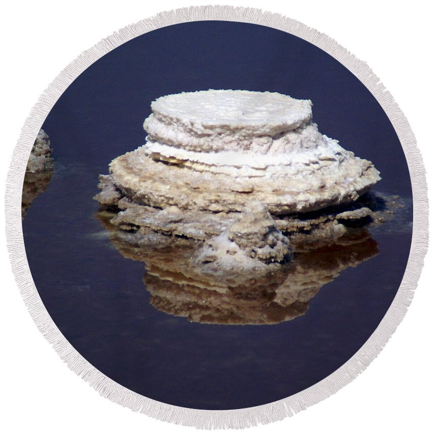 Salt; Formation Round Beach Towel featuring the photograph salt cristal at the Dead Sea Israel by Avi Horovitz