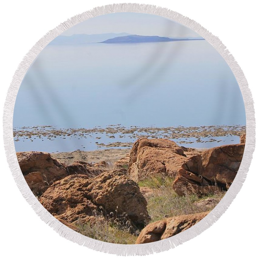 Nature Round Beach Towel featuring the photograph Salt Lake View 3 by Tonya Hance