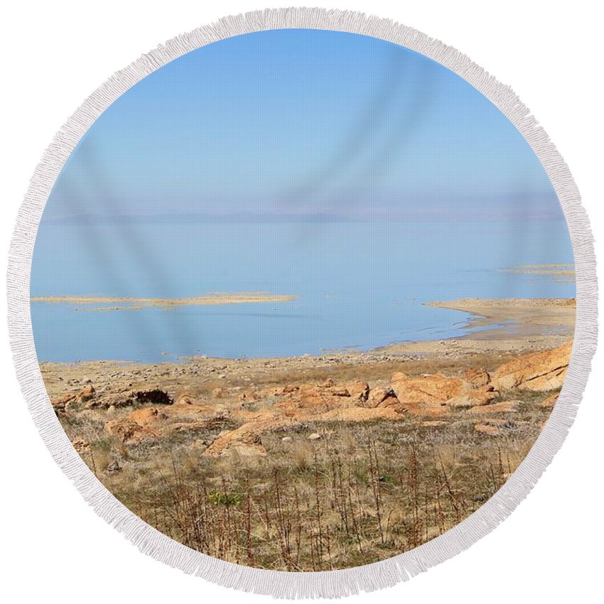 Nature Round Beach Towel featuring the photograph Salt Lake View by Tonya Hance