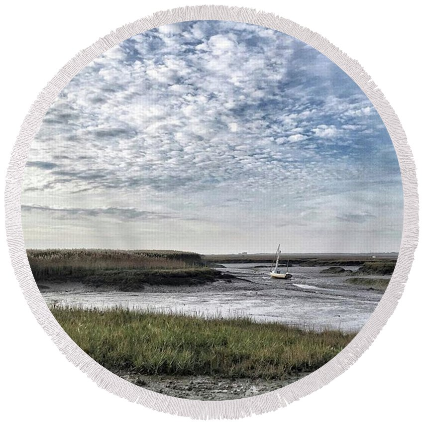 Beautiful Round Beach Towel featuring the photograph Salt Marsh And Creek, Brancaster by John Edwards