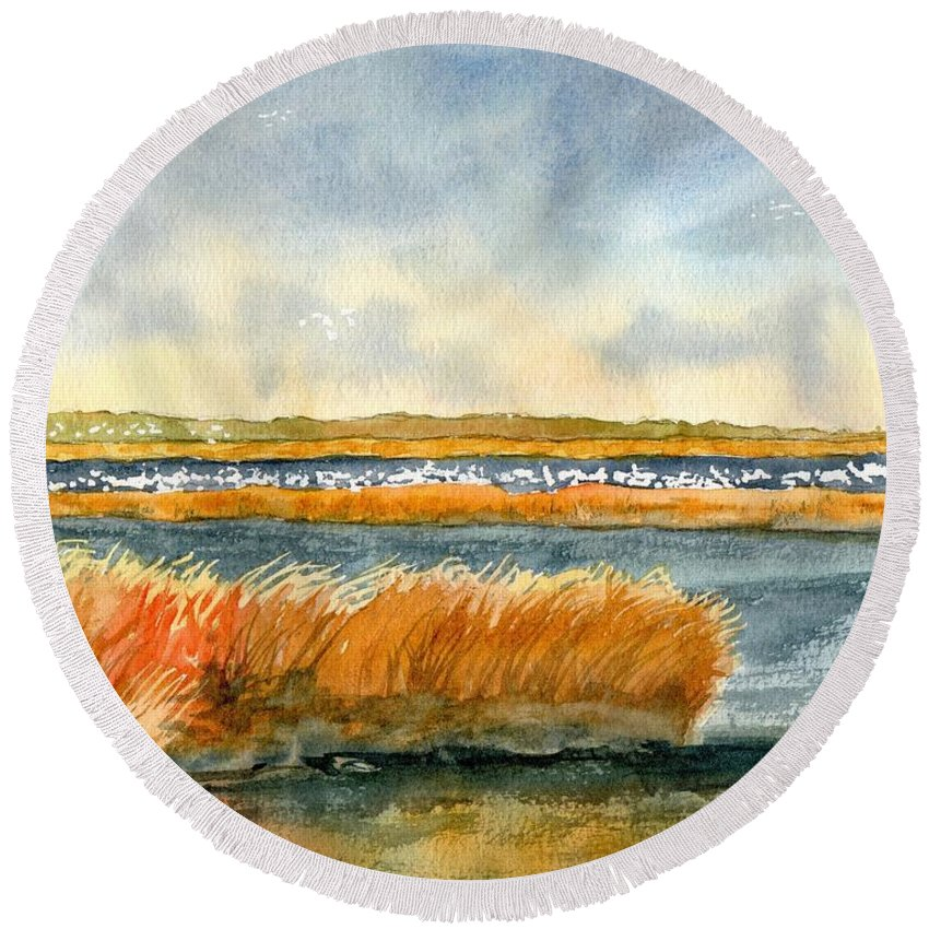Salt Marsh Round Beach Towel featuring the painting Salt Marsh And Snow Geese by Paul Temple