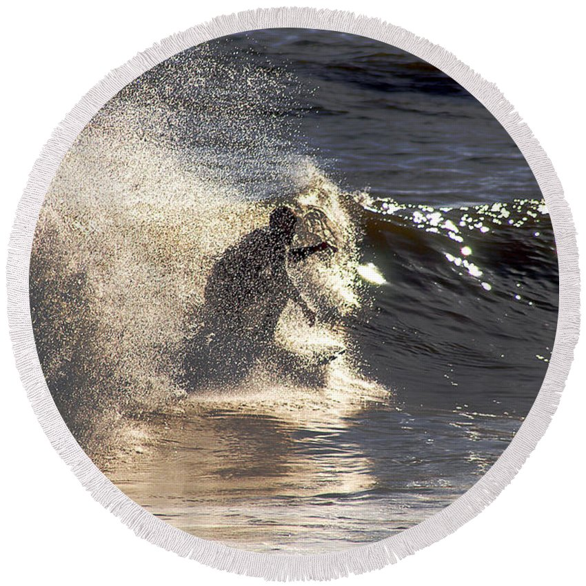 Clay Round Beach Towel featuring the photograph Salt Spray Surfing by Clayton Bruster