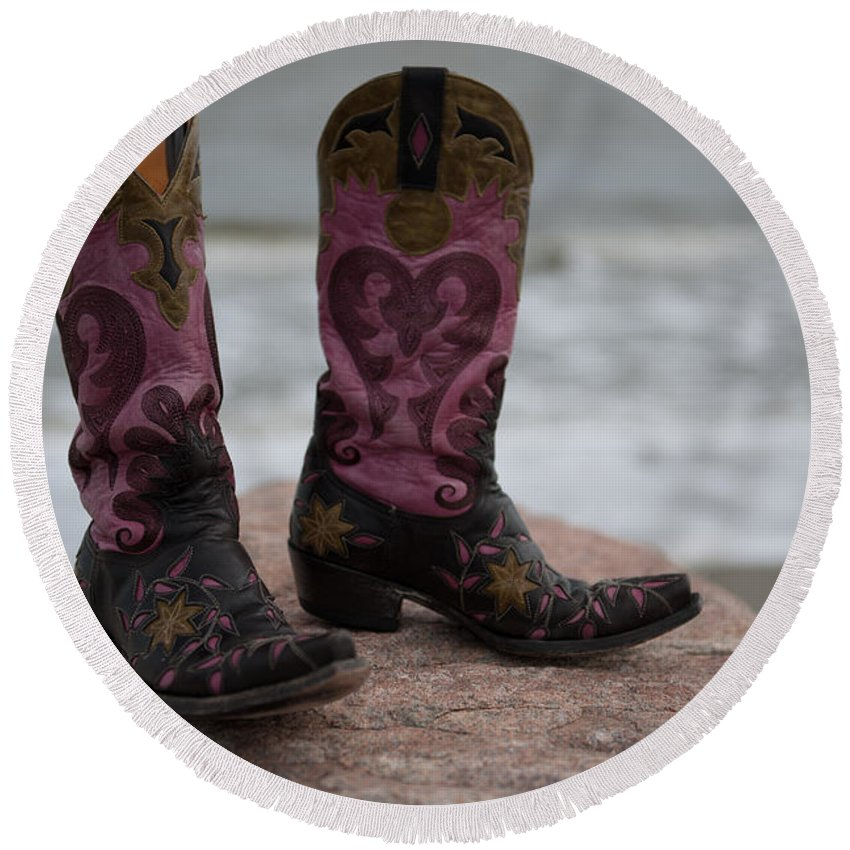 Cowgirl Round Beach Towel featuring the photograph Salt Water Boots by Dale Powell