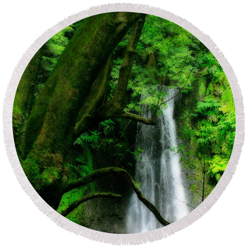 Environment Round Beach Towel featuring the photograph Salto Do Prego Waterfall by Gaspar Avila