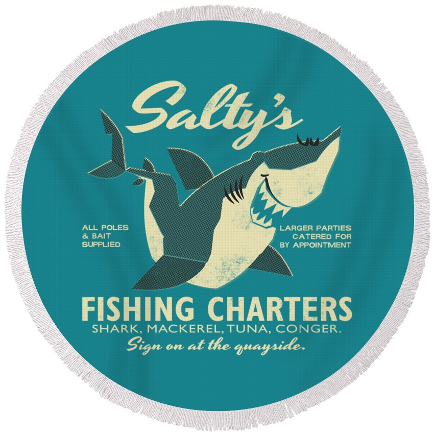 Fish Round Beach Towel featuring the drawing Salty's Fishing Charters by Daviz Industries