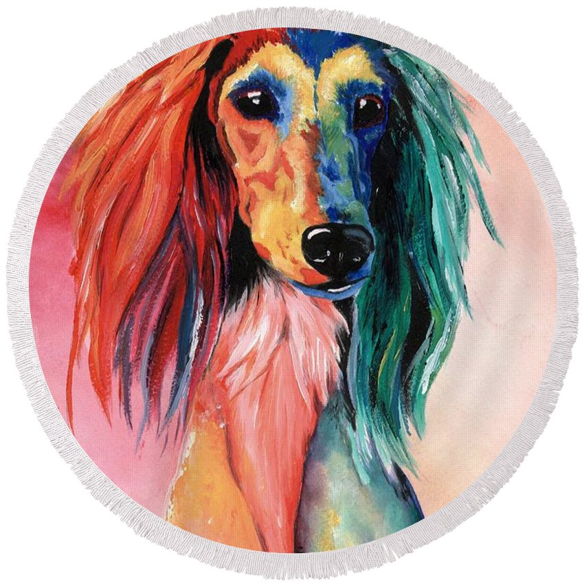 Saluki Round Beach Towel featuring the painting Saluki Sunset by Kathleen Sepulveda